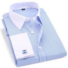 고품질 줄무늬 남자 프랑스어 커프스 단추 캐주얼 드레스 셔츠 긴팔 화이트 칼라 디자인 스타일 웨딩 턱시도 셔츠 6XL