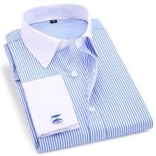 Alta qualidade listrado masculino francês abotoaduras casual camisas de vestido longo mangas compridas colarinho branco design estilo casamento smoking camisa 6xl