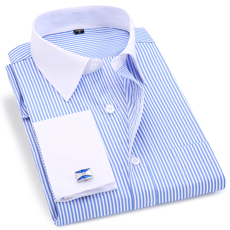 High Quality Striped Men French Cufflinks Casual Dress Shirts Long Sleeved White Collar Design Style Wedding Tuxedo Shirt 6XL-in Dress Shirts from Men's Clothing