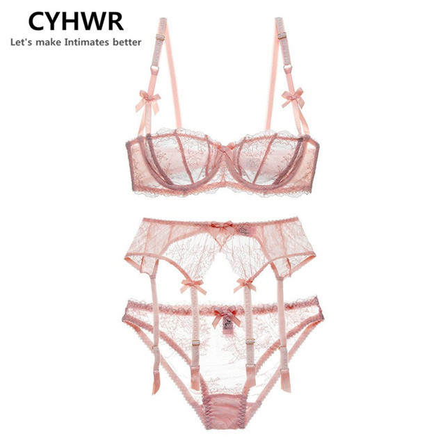 CYHWR Luxury Half Cup Lace Transprent Ultra-thin Solid Lolita Style Pink and White 3 Pieces/Lots Bra Set with Garter