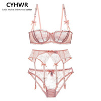 CYHWR Luxury Half Cup Lace Transprent Ultra Thin Solid Lolita Style Pink And White 3 Pieces