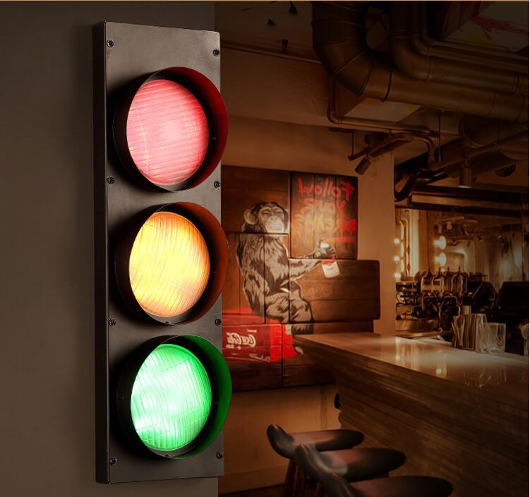 wind cafe bar creative decoration personality red light warning wall lamp za Retro industry European style restaurant industry