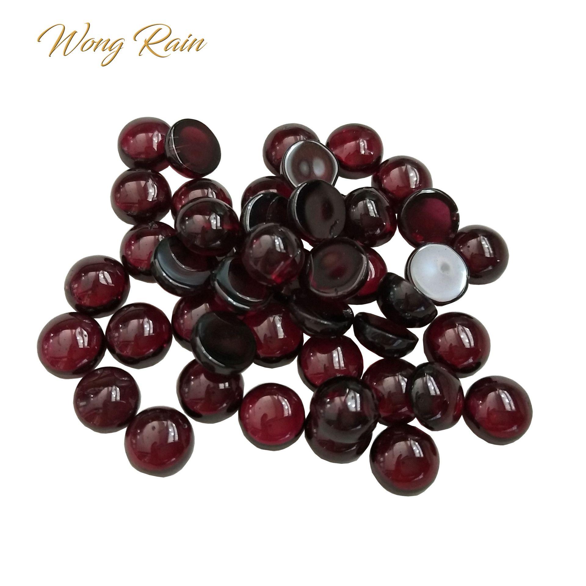 Wong Rain Top Quality 1 PCS Natural 6 MM Round Cut Garnet Loose Gemstone DIY Stones Decoration Jewelry Wholesale Lots Bulk