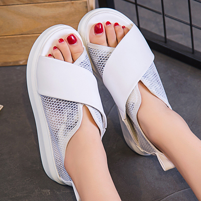 Wedges heel Platform slip-on women sandals shoes casual breathable fashion women's shoes solid cover heel woman shoes 2018 women sandals fashion peep toe casual slip on sandals women beach summer shoes women wedges platform cover heel sandals