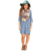 שמלות 879 אביב נשים שרוול הארוך Loose שמלה כחולה סתיו