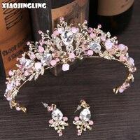 XIAOJINGLING Pink Gold Pearl Bridal Crowns Tiara Bride Crystal Wedding Hair Jewelry Queen Crown Hair Accessories