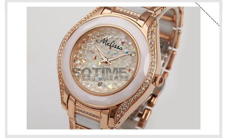 Elegant Fashion Women Ceramic Watches Girls Shining Crystals Dress Wrist watch HK Brand MELISSA Clock Quartz Analog Montre femme fashion elegant m
