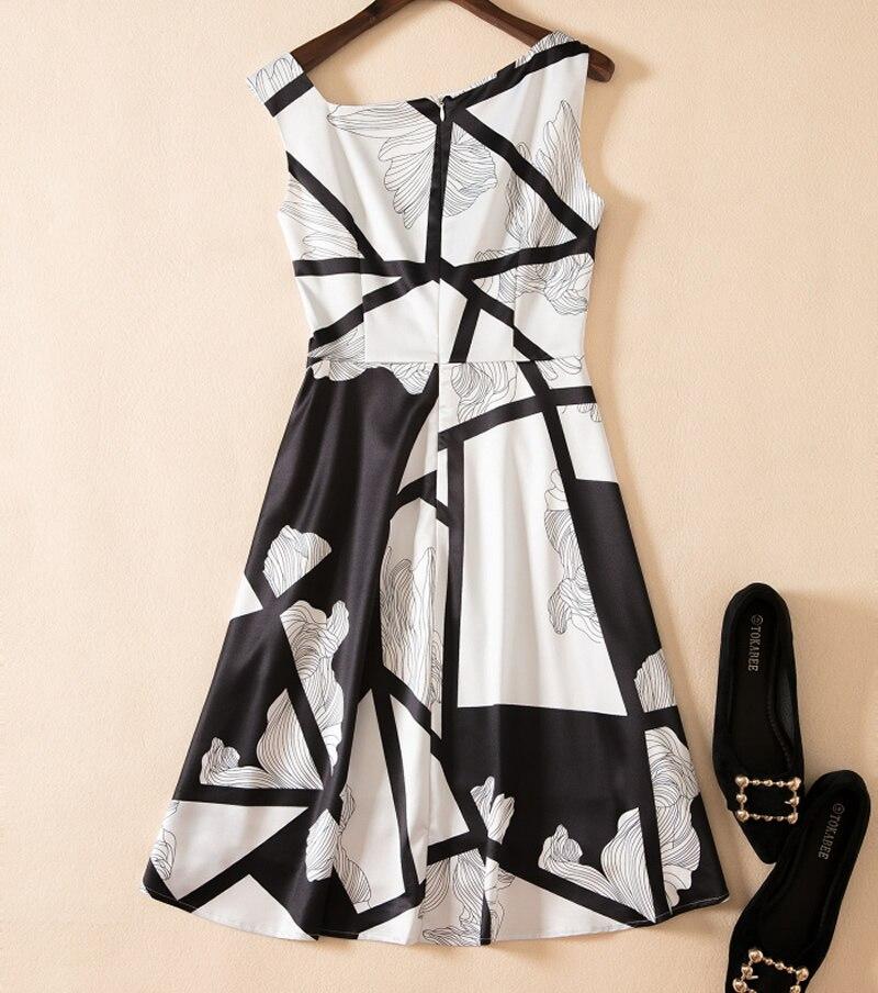 Imprimer Sans Manches Robe Femmes K671 Robes Géométrique Élégant Abstrait Vintage Casual WgtBxXnW