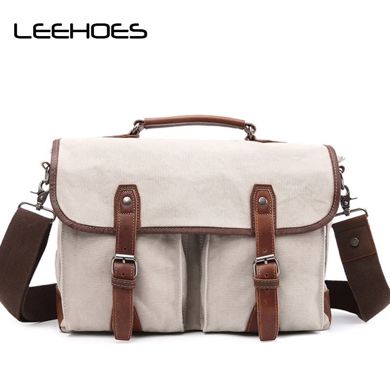 vintage fashion unisex canvas messenger bag book laptop school shoulder bags ladies women crossbody bags handbag men travel bag Hot Vintage Men Canvas Tote Bag Casual Travel Shoulder Messenger Bags Camera Laptop Handbag Men Briefcase Business Crossbody Bag