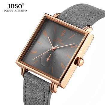 0002432b5229 IBSO 8 MM Ultra-delgada línea cuadrados relojes para hombre 2019 correa de  cuero genuino clásico de moda reloj de cuarzo de los hombres de negocios  reloj ...