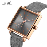 IBSO 8MM Ultra thin Square Dial Mens Watches 2019 Genuine Leather Strap Fashion Classic Quartz Watch Men Business Male Clock