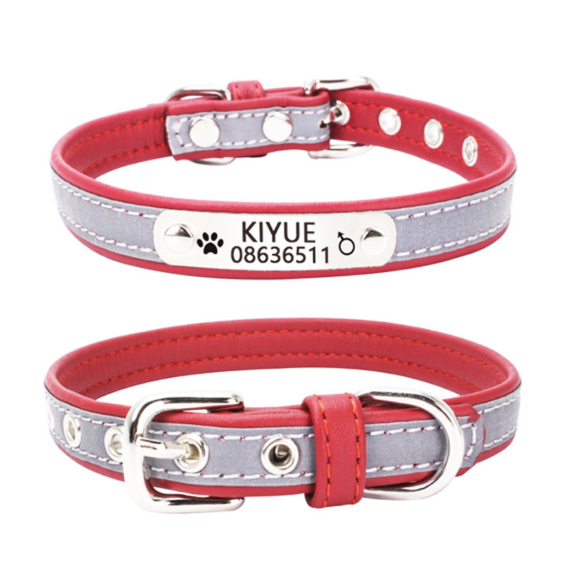 Reflective Personalized Engraved Dog Collar Custom Pet ID Tag Puppy Cat Collars