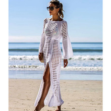 2019 Crochet White Knitted Beach Cover up dress Tunic Long P