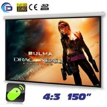 150 pulgadas 4:3 Pantalla de Proyección Eléctrica Motorizada pantalla proyeccion para LED LCD de proyección de Películas HD Mate Blanco