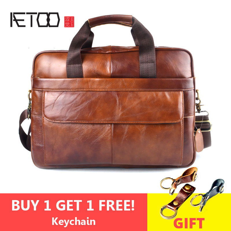 AETOO Genuine Leather genuine leather laptop bag Handbags Cowhide Men Crossbody Bag Men's Travel brown leather briefcase(China)