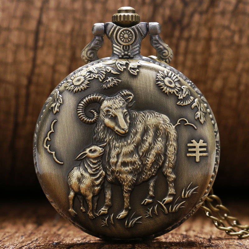 Vintage Bronze Goat Lamb 3D Design Case Quartz Pocket Watch With Necklace Chain Gift To Children Kids