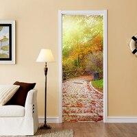 2 Pcs Set Creative DIY 3D Door Stickers Stone Road Pattern For Kids Room Door Home