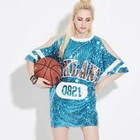 2017 estilo de verano de moda de las mujeres del hombro Camisetas hip hop suelta de manga corta larga sequined poleras Mujer