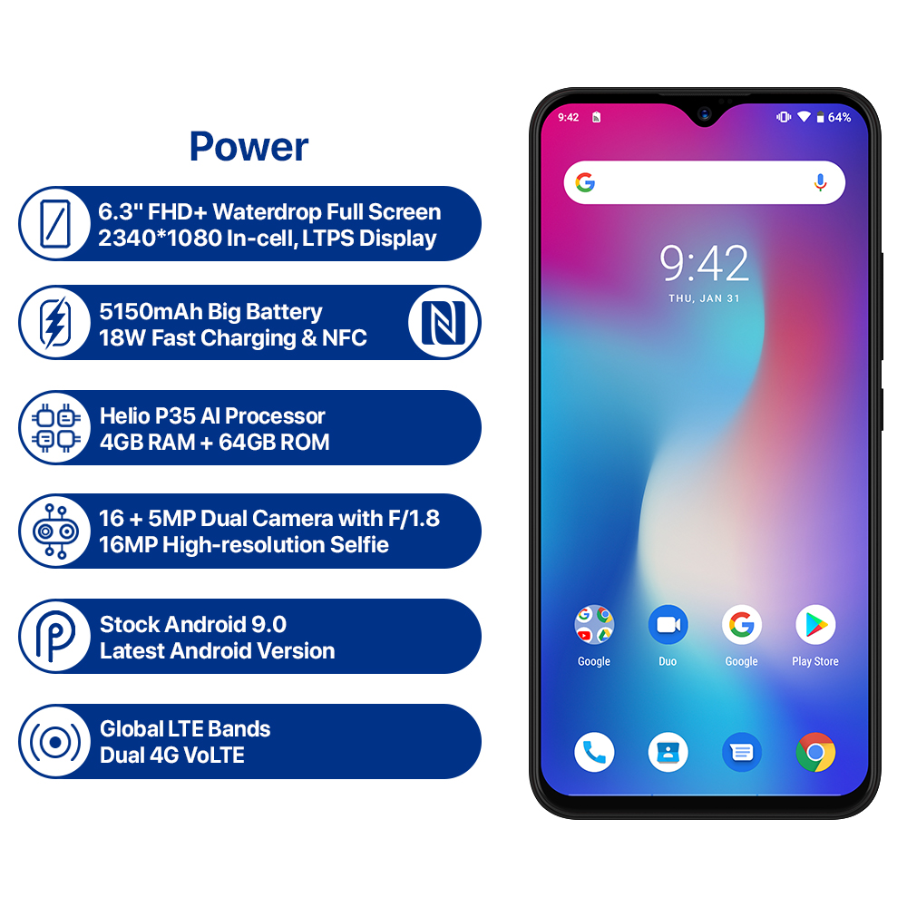 UMIDIGI Power Android 9.0 Global Version Smartphone 6.3inch FHD Waterdrop Screen 4GB+64GB Helio P35 16MP 5150mAh Big Battery 18W