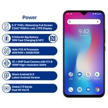 UMIDIGI Power Android 9.0 Global Version Smartphone 6.3inch FHD Waterdrop Screen 4GB+64GB Helio P35 16MP 5150mAh Big Battery 18W