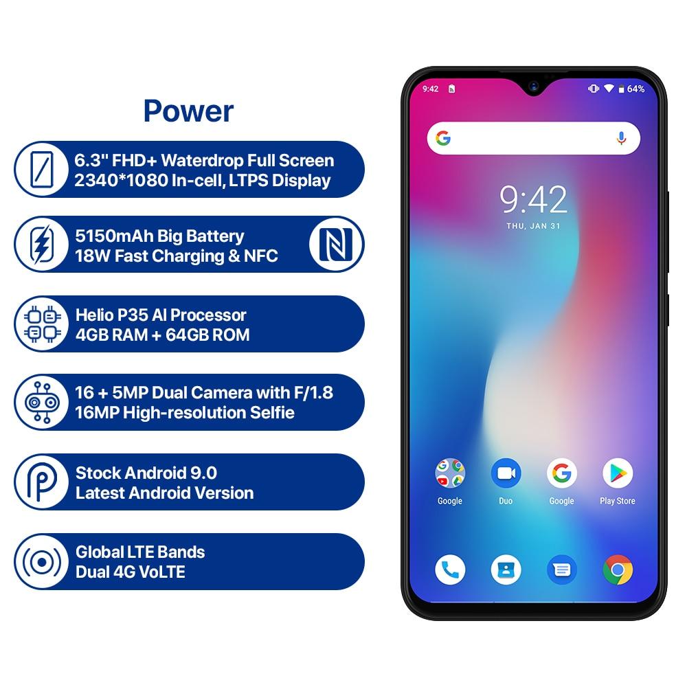 UMIDIGI Power Android 9.0 Version mondiale Smartphone 6.3 pouces FHD écran de goutte d'eau 4 GB + 64 GB Helio P35 16MP 5150 mAh grande batterie 18 W