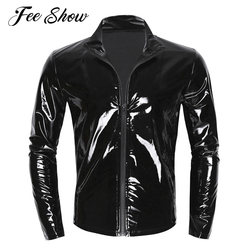 Novelty Sexy Gay Mens Shiny Metallic Top Long Sleeves Stand Collar Top Shiny Wet Look Patent Leather T-shirt Tops Coat Clubwear