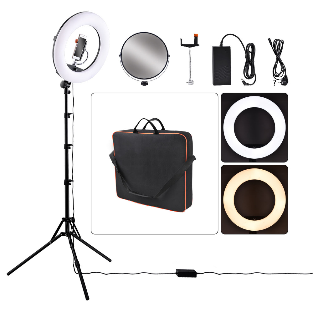 fosoto FD-480II Dimmable Bi-color 1896W Camera Photo Video Photography LED Ring Light Lamp&LCD Screen/bag Tripod Stand/Mirrorfosoto FD-480II Dimmable Bi-color 1896W Camera Photo Video Photography LED Ring Light Lamp&LCD Screen/bag Tripod Stand/Mirror