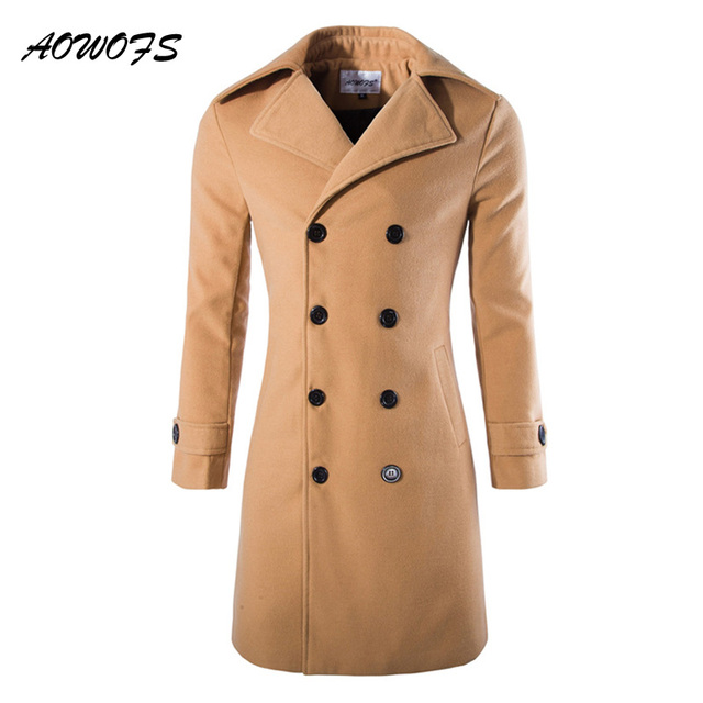AOWOFS Mens Overcoat Long Trench Coats Winter Male Pea Coat Double Breasted  Wool Coats Black Grey Camel Trenchcoat Jacket Slim 780797a5b491