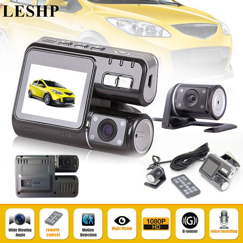 LESHP HD 1080P Dual-lens Vehicle DVR Camera Perspective Car Driving Recorder with Wide Angle 170 Degree & Built-in G-sensor full hd 1080p vehicle blackbox dvr with g sensor