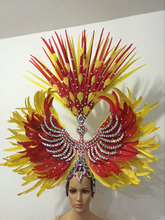St Patrick s Day Samba dance carnival National Day costumes headpieces with diamond feather headdress