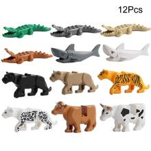 12Pcs /set Animal Crocodile Puma Panther Cow Shark Figures Model Building Blocks Accessory Educational Toys Compatible With Lego(China)