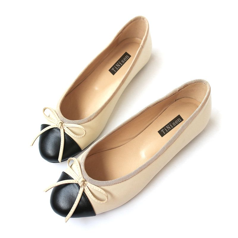 2018 NEW women High Quality Genuine Leather Bowtie women Casual Ballet Flats Casual shoes Slip-On Round Toe size 34-42 ladies casual flat shoes spring bowtie flats women round toe slip on ballet flats knitted pu leather ballerinas flats for women