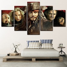 Modern Artwork Home Decor Painting 5 Panel Movie Pirates Of The Caribbean Characters Poster One Set Framework Or Unframed