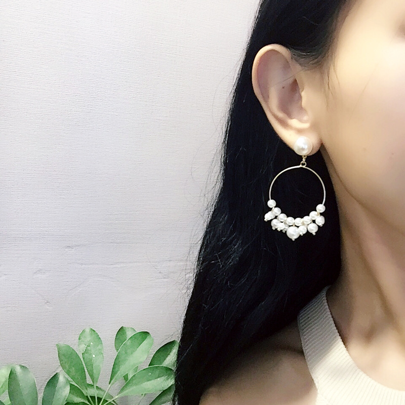 Korean Fashion Imitation Pearl Drop Earrings Sweet Girl Trendy Temperament Big Round Dangle Earrings For Women Jewelry Brincos in Drop Earrings from Jewelry Accessories