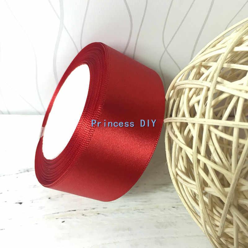25 Meter Sutra Putih Satin Ribbon 1-1/2 ''38mm Wedding Party Hiasi Hadiah Pembungkus Natal Bunga Rambut busur DIY Aksesoris