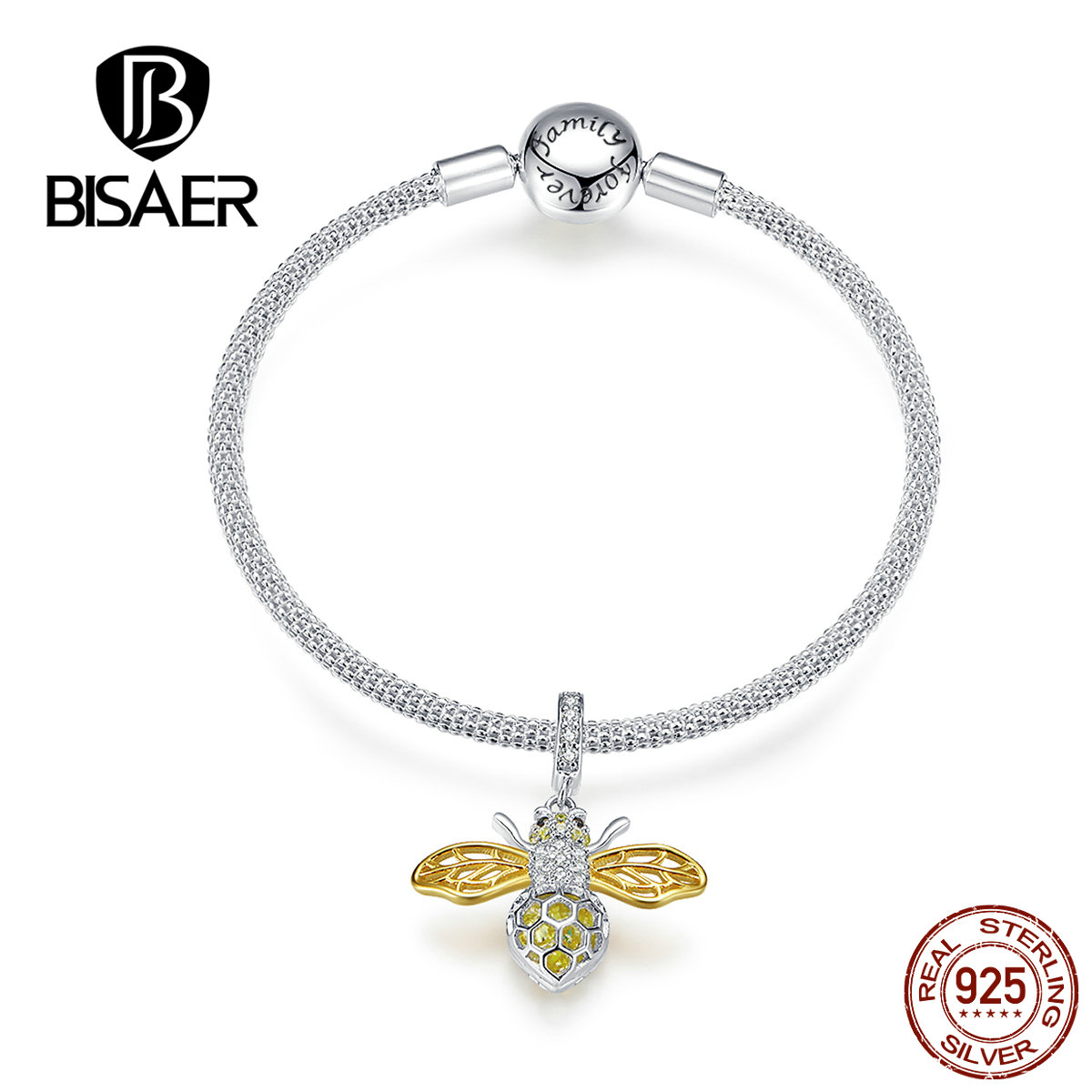 Bee Bracelets BISAER 925 Sterling Silver Insect Bee Snake Chain Silver Women Bracelets 17 19cm Sterling Silver Jewelry ECB830