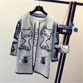 Tejer Suéteres de Las Mujeres 2016 de Invierno Nueva Carta Bolsillos V-cuello Flojo Ocasional de Lana de manga Larga Femenina de Punto Abierto Stitch