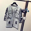 Tricô Cardigan Sweaters da Mulher 2016 Inverno Nova Letra V-neck Solto Pockets Casual Longo-luva de Malha de Lã Feminino Ponto Aberto