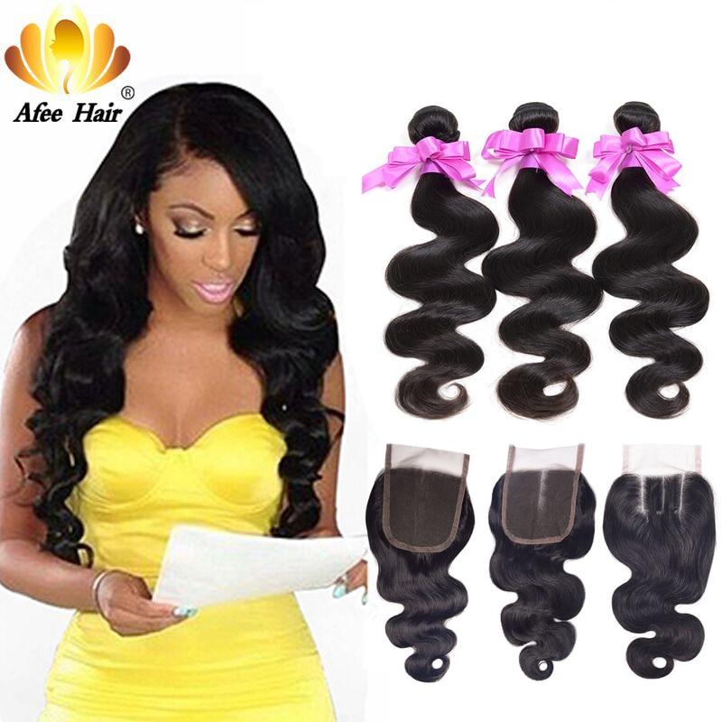 Aliafee Hair Brazilian Body Wave 4 Pcs Deal Body Wave Bundles With Closure Brazilian Hair Weave Bundles Non Remy Human Hair