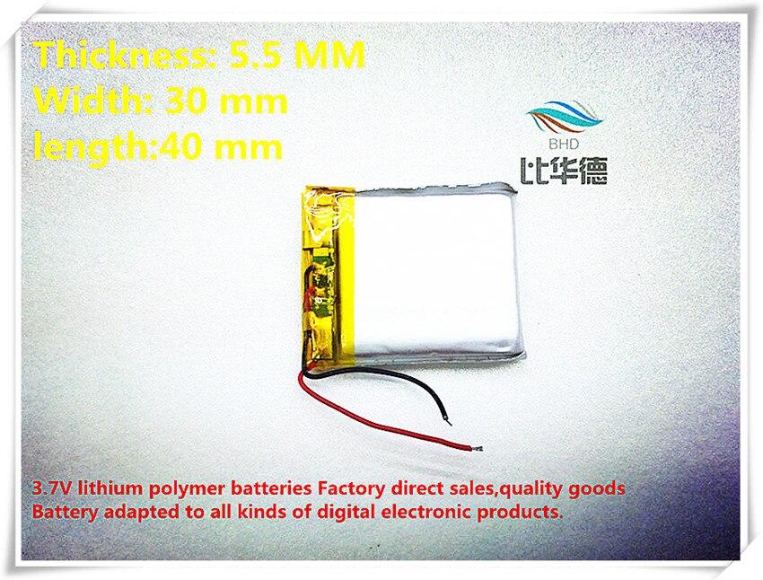 (10 unids lote) 3.7 V 553040 600 mAh batería de polímero de iones de litio  calidad productos de calidad de autoridad de certificación del FCC RoHS del  CE 018dc7b643c