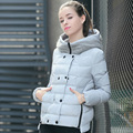 High Quality 2016 New Arrive Fashion Slim Women Short Down Coats Thick Warm Double Breasted Zipper Winter Collar Hooded Outwear