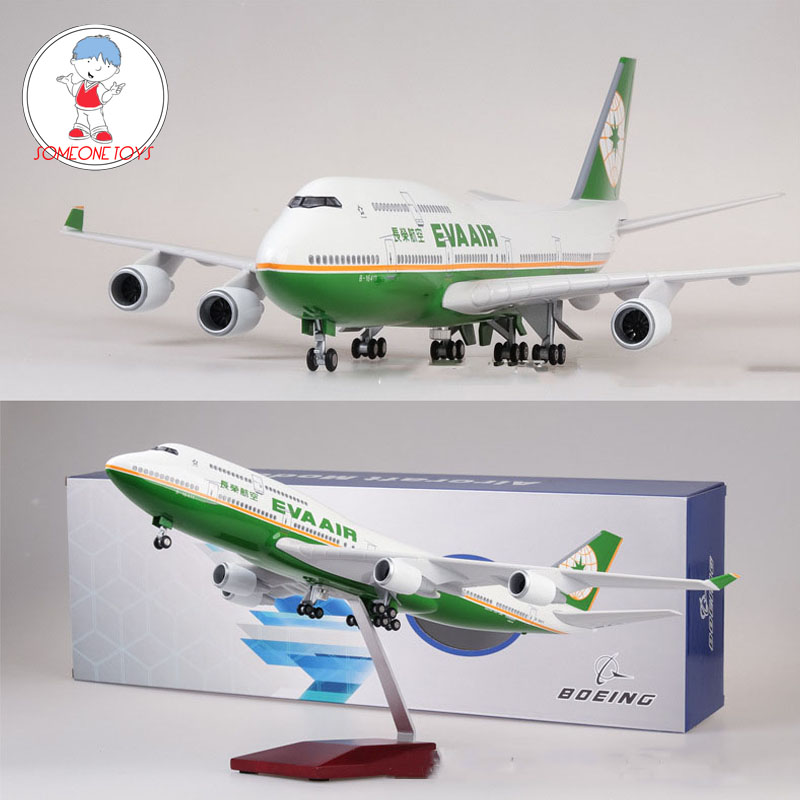 1/157 Scale 47CM Airplane Boeing B747 Aircraft Taiwan EVA AIR Airline Model   Light And Wheel Diecast Plastic Resin Plane