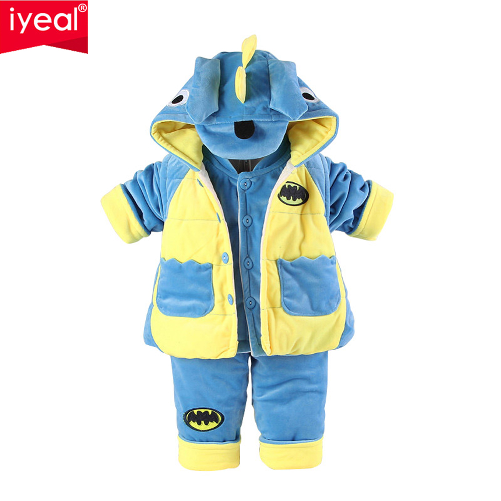 IYEAL 2017 Baby Boys Clothing Set Winter Cute Flannel Children Newborn Cartoon Dinosaur 3-Pieces Suits Outwear Coat +Vest +Pant baby boys sets cartoon dinosaur animal shapes children s clothing spring fall flannel coat with hood pants kids wear 0 2 yrs