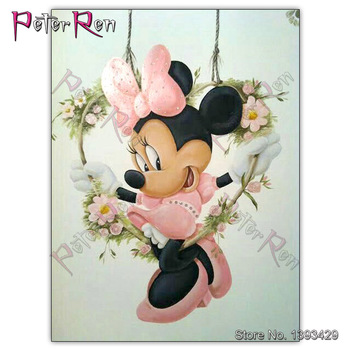 Peter ren Diamond Painting Cross Stitch Animal Minnie picture full Embroidery mouse rhinestone heart flower Swing