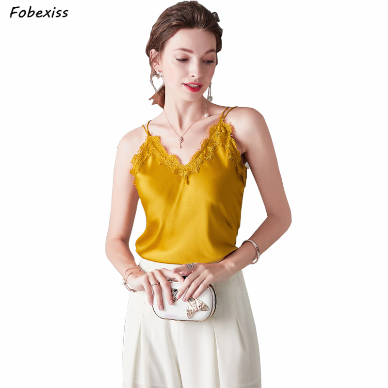 <font><b>100</b></font>% Natural <font><b>Silk</b></font> Camisole Sexy Lace V Neck Real <font><b>Silk</b></font> White <font><b>Tops</b></font> Casual Loose Spaghetti Strap Camisole Elegant Tank <font><b>Top</b></font> Vest image