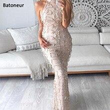Sexy high neck sleeveless summer dress 2017 new women fashion sequin dress  Elegant party long dress vestidos de fiesta 50f3957a4df7