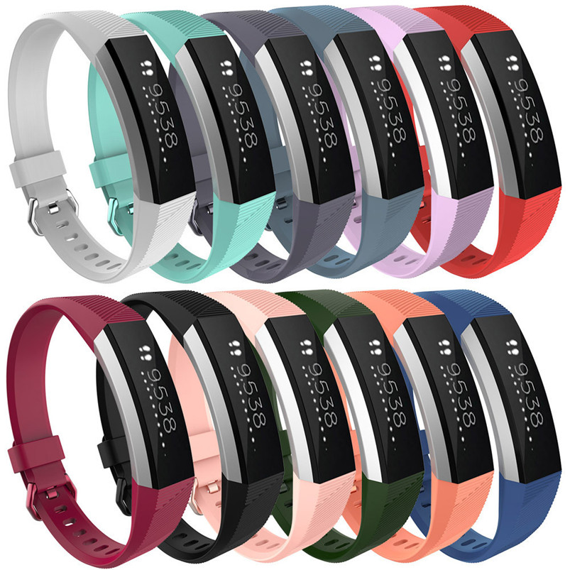 12 Colour High Quality Watches Small Crystal Replacement Wrist Watch Band Silicon Strap Clasp Silicone For Fitbit Alta HR Watch(China)