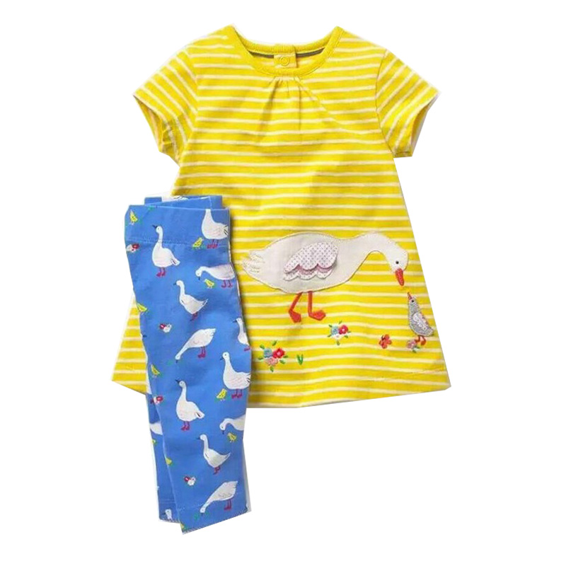 Jumping Meters Baby Girls Summer Clothes Set 2018 Brand Girls Tracksuit Kids Outfits Animal Applique Children Clothing Sets 1-6T jumping meters boys winter clothes children clothing sets animal tops pants 100% cotton 3017 brand kids tracksuit boys outfits