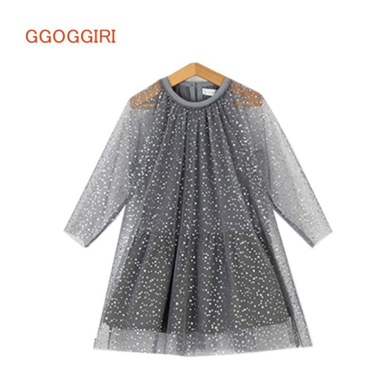 GGOGGIRI čisto nova dekleta jesenska pomlad dolga vila O-neck voile zvezde bombažna podloga kakovostne čudovite obleke