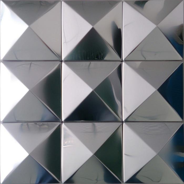 silver mirror polised pyramid pattern quare stainless steel metal mosaic tile for kitchen backsplash tiles bathroom